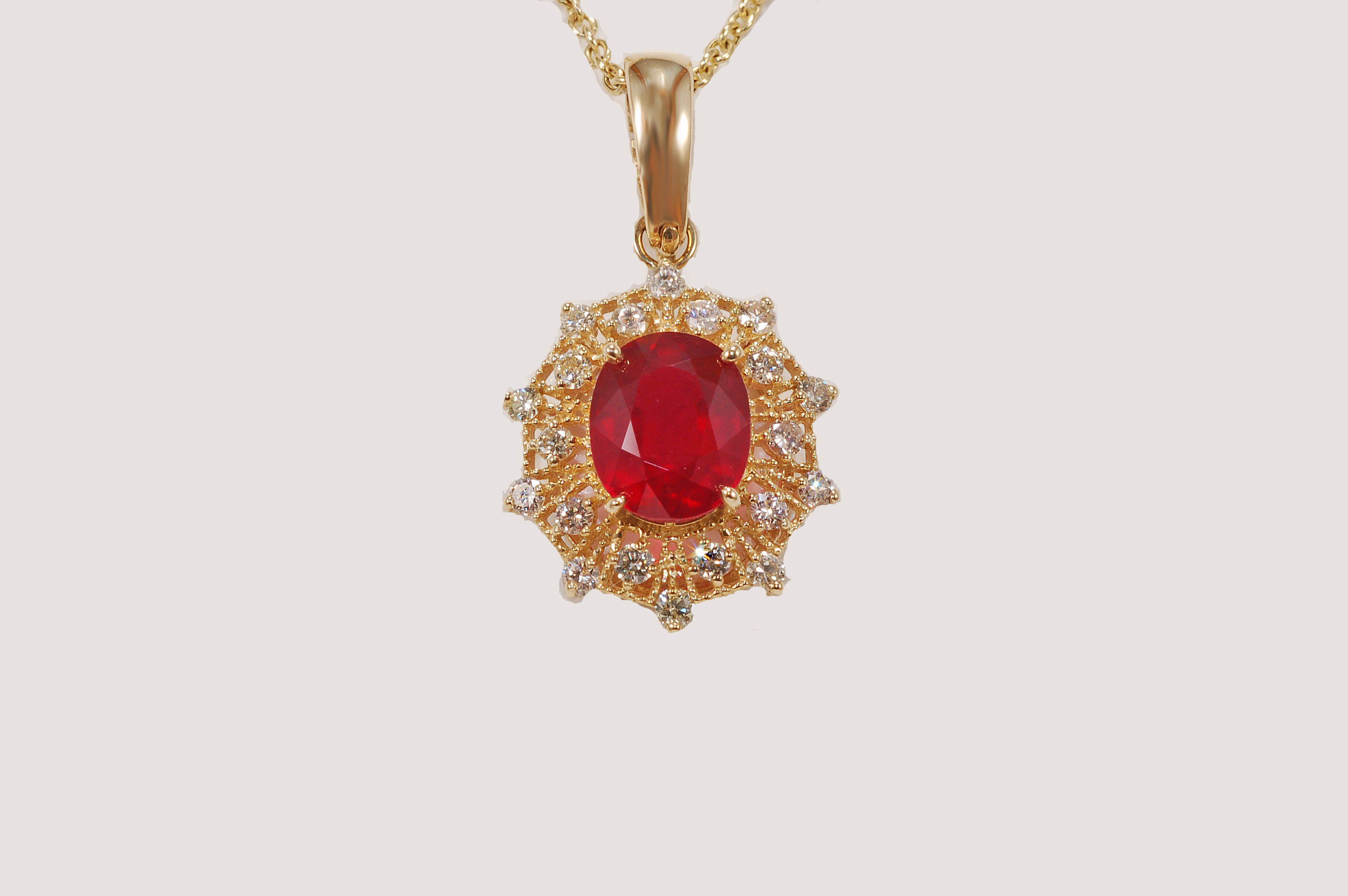 necklace pendant red jewelry roberto in round synthetic coin lyst ruby