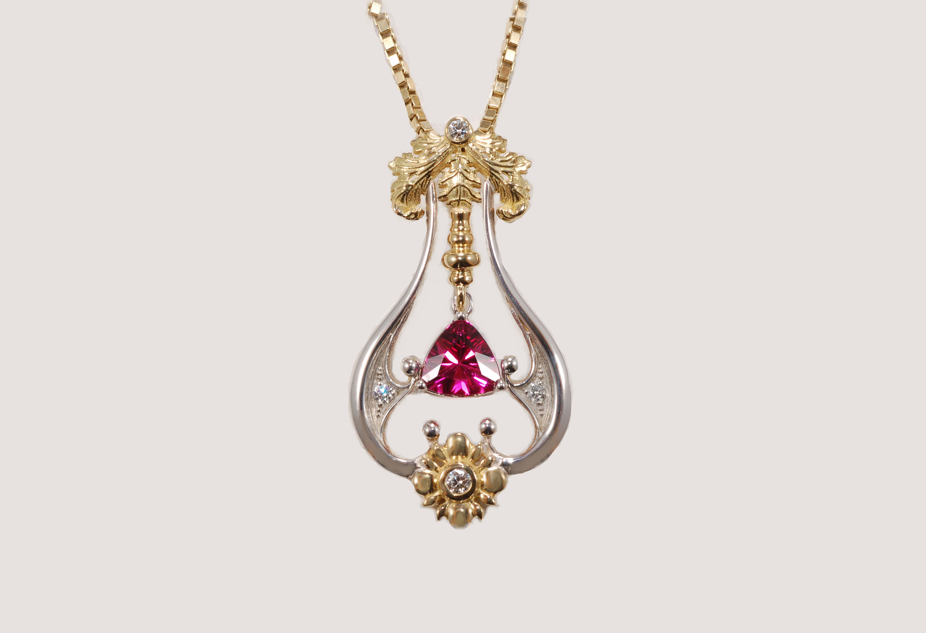 necklace pendant tourmaline bar pink the filled wire design valeria wrapped in gold gemstone