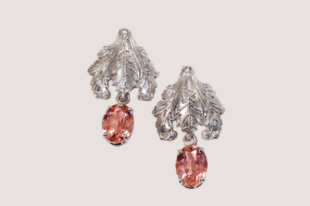 watermelon product earrings original rose gold raw by large embers tourmaline