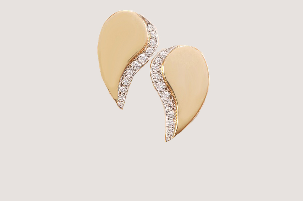 Unlimited Yellow Gold Paisley Diamond Earring Tops – Kas-A-Designs